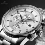 KS180 мужские водонепроницаемые часы с круглым циферблатом, календариком и ремешком из нержавеющей стали.
