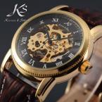 KS032 мужские водонепроницаемые часы с оригинальным циферблатом, римскими цифрами, указывающими время и кожаным ремешком.