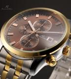 KS199 мужские водонепроницаемые часы с круглым циферблатом, календариком и ремешком из нержавеющей стали.