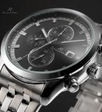 KS201 мужские водонепроницаемые часы с большим циферблатом, календариком и ремешком из нержавеющей стали.