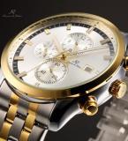 KS200 мужские водонепроницаемые часы с круглым золотистым циферблатом, календариком и ремешком из нержавеющей стали.
