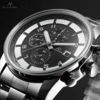 KS181 мужские водонепроницаемые часы с большим циферблатом, календариком и ремешком из нержавеющей стали.