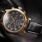 KS157 водонепроницаемые мужские часы с круглым циферблатом, календариком, арабскими цифрами, указывающими время и кожаным ремешком.