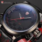 Shark SH203 мужские водонепроницаемые часы с двойным механизмом, цифровым светодиодным дисплеем, будильником и кожаным ремешком.