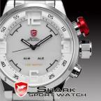 SHARK SH104 мужские водонепроницаемые часы с японским механизмом, цифровым светодиодным дисплеем, будильником и ремешком из нержавеющей стали.