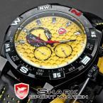 SHARK SH083 мужские водонепроницаемые часы с оригинальным жёлтым циферблатом и кожаным ремешком.