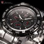 SHARK SH015 мужские водонепроницаемые часы с круглым циферблатом, календариком и ремешком из нержавеющей стали.