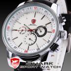 SHARK SH093 мужские водонепроницаемые часы с большим циферблатом, календариком и ремешком из натуральной кожи.