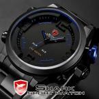 SHARK SH106 мужские водонепроницаемые часы с цифровым светодиодным дисплеем, будильником и ремешком из нержавеющей стали.