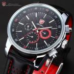 SHARK SH094 мужские водонепроницаемые часы с круглым циферблатом и ремешком из натуральной кожи.
