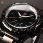 SHARK SH001 мужские водонепроницаемые часы с цифровым светодиодным дисплеем, будильником и ремешком из нержавеющей стали.