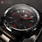 SHARK SH007 мужские водонепроницаемые часы с цифровым светодиодным дисплеем, будильником и ремешком из нержавеющей стали.