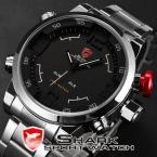 SHARK SH103 мужские водонепроницаемые часы с японским механизмом, цифровым светодиодным дисплеем и ремешком из нержавеющей стали.