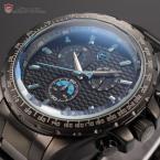 Shark SH189 мужские водонепроницаемые часы с круглым лазурным циферблатом, хронографом и ремешком из нержавеющей стали.