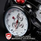 SHARK SH085 мужские водонепроницаемые часы с круглым циферблатом, календариком и ремешком из натуральной кожи.