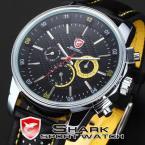 SHARK SH095 мужские водонепроницаемые часы с круглым циферблатом, календариком и ремешком из натуральной кожи.