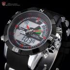 SHARK SH043 мужские водонепроницаемые часы с цифровым ЖК дисплеем, хронографом и резиновым ремешком.