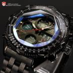 Shark SH116 мужские водонепроницаемые часы с цифровым ЖК дисплеем, хронографом и ремешком из нержавеющей стали.