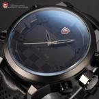 Shark SH206 мужские кварцевые часы с двойным механизмом, цифровым светодиодным дисплеем, будильником и кожаным ремешком.