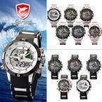 SHARK SH041-SH051 мужские водонепроницаемые часы с цифровым светодиодным дисплеем, секундомером и резиновым ремешком.
