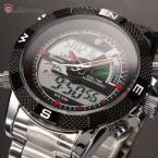 SHARK SH049 мужские водонепроницаемые часы с цифровым ЖК дисплеем, будильником, хронографом и ремешком из нержавеющей стали.