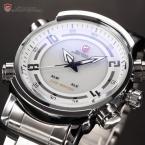 SHARK SH062 мужские водонепроницаемые часы с цифровым светодиодным дисплеем, будильником и ремешком из нержавеющей стали.