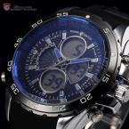 Shark SH054 мужские водонепроницаемые часы с цифровым ЖК дисплеем, календариком и резиновым ремешком.