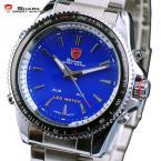 SHARK SH002 мужские водонепроницаемые часы с синим цифровым светодиодным дисплеем, будильником и ремешком из нержавеющей стали.