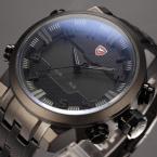 SHARK SH199 мужские водонепроницаемые часы с цифровым светодиодным дисплеем, будильником и ремешком из нержавеющей стали.