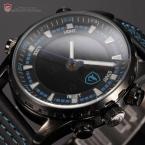 Shark SH134 мужские водонепроницаемые часы с цифровым ЖК дисплеем, секундомером и кожаным ремешком.