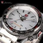 SHARK SH004 мужские водонепроницаемые часы с цифровым светодиодным дисплеем, будильником и ремешком из нержавеющей стали.