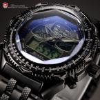 SHARK SH308 мужские водонепроницаемые часы с цифровым ЖК дисплеем, будильником, хронографом и ремешком из нержавеющей стали.
