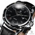 ORKINA ORK053 мужские водонепроницаемые часы с японским механизмом, круглым циферблатом, календариком и кожаным ремешком.