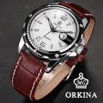 ORK052 мужские водонепроницаемые часы с круглым циферблатом, календариком и ремешком из натуральной кожи.