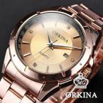 ORKINA ORK102 мужские водонепроницаемые часы с оригинальным циферблатом, календариком и ремешком из нержавеющей стали.