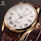 ORKINA ORK158 мужские водонепроницаемые часы с круглым циферблатом, календариком и кожаным ремешком.