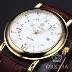 ORKINA ORK046 мужские водонепроницаемые часы с круглым циферблатом, календариком и ремешком из натуральной кожи.