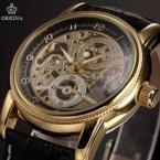 Orkina ORK199 мужские часы автомат с оригинальным циферблатом и кожаным ремешком.