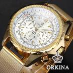 ORKINA ORK112 мужские водонепроницаемые часы с круглым циферблатом, хронографом, секундомером и ремешком из нержавеющей стали. (Цвет - золотистый)