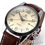 Orkina ORK055 мужские водонепроницаемые часы с круглым циферблатом и кожаным ремешком.