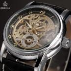 Orkina ORK198 мужские часы автомат с оригинальным циферблатом и кожаным ремешком.