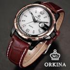 ORKINA ORK049 мужские водонепроницаемые часы с круглым циферблатом, календариком и ремешком из натуральной кожи.