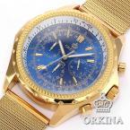 ORKINA Slim Stainless Steel Mesh Band 6 Hands Chronograph Round Blue Dial Gentleman Business Analog Quartz Wrist Watch / ORK114