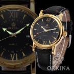 ORKINA ORK047 мужские водонепроницаемые часы с японским механизмом, круглым циферблатом, календариком и ремешком из натуральной кожи.