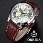 Orkina ORK068 мужские водонепроницаемые часы с круглым циферблатом, секундомером и кожаным ремешком.