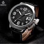 ORKINA ORK174 мужские водонепроницаемые часы с круглым циферблатом, календариком и кожаным ремешком.