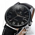 Orkina ORK054 мужские водонепроницаемые часы с круглым циферблатом, календариком и кожаным ремешком.