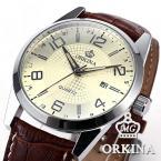 Orkina ORK056 мужские водонепроницаемые часы с большим циферблатом, календариком и кожаным ремешком.