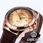 Orkina ORK083 мужские кварцевые часы с круглым циферблатом, календариком и кожаным ремешком.