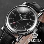 ORKINA ORK106 мужские кварцевые часы с круглым циферблатом, календариком и кожаным ремешком.
